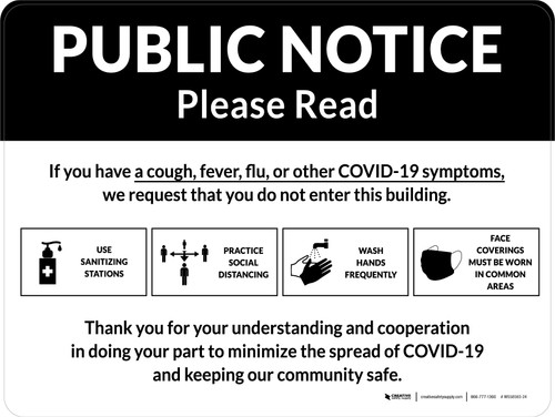 Public Notice: COVID-19 with Icons Landscape - Wall Sign