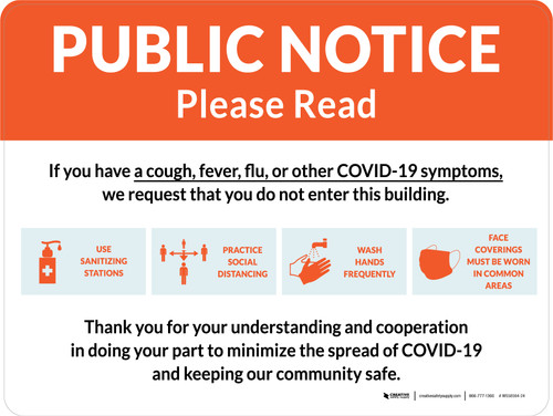 Public Notice: COVID-19 with Icons Orange Landscape - Wall Sign