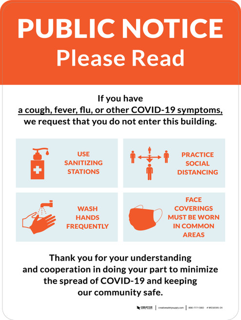 Public Notice: COVID-19 with Icons Orange Portrait - Wall Sign