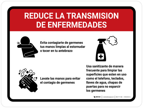 Reduce La Transmision De Enfermedades Spanish with Icons Landscape - Wall Sign