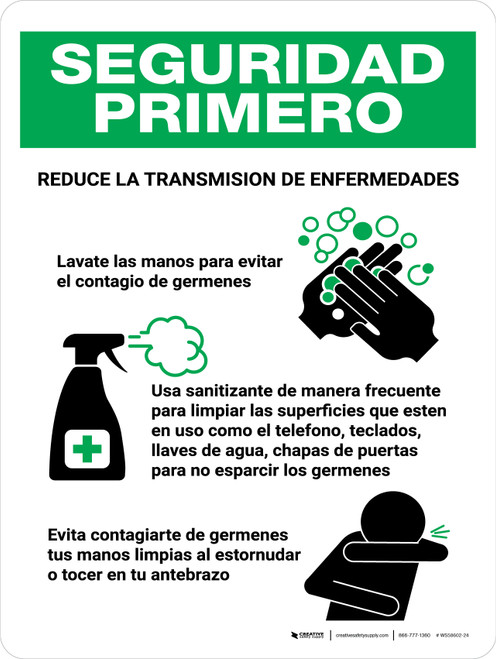 Safety First Reduce La Transmision De Enfermedades Spanish with Icons Portrait - Wall Sign