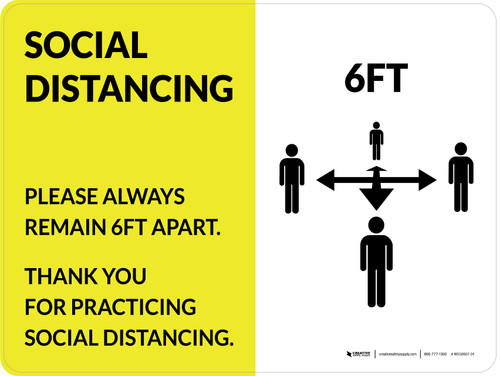 Social Distancing 6Ft with Icon Yellow Landscape - Wall Sign