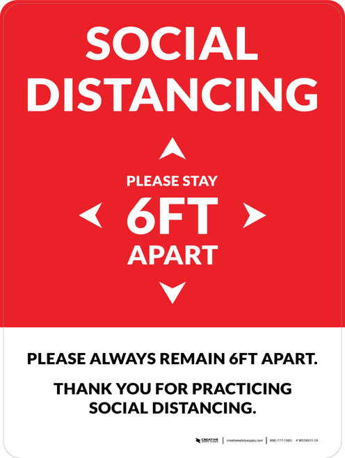 Social Distancing Please Stay 6Ft Apart Red Portrait - Wall Sign