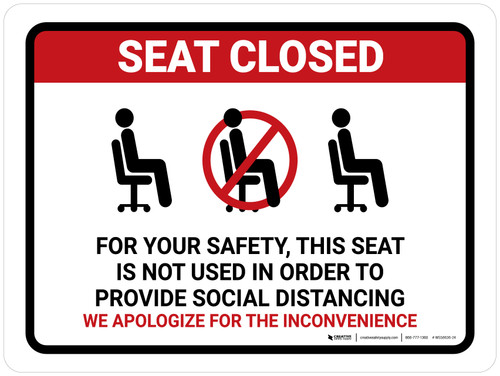 Seat Closed For Social Distancing with Icon Landscape - Wall Sign