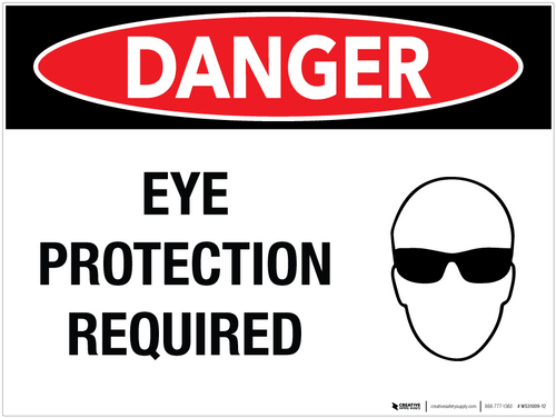 Danger Eye Protection Required Wall Sign