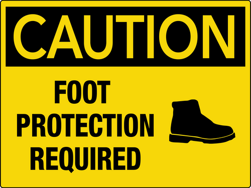 Caution Foot Protection Required Wall Sign