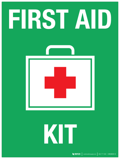 First Aid Kit (with red cross) - Wall Sign