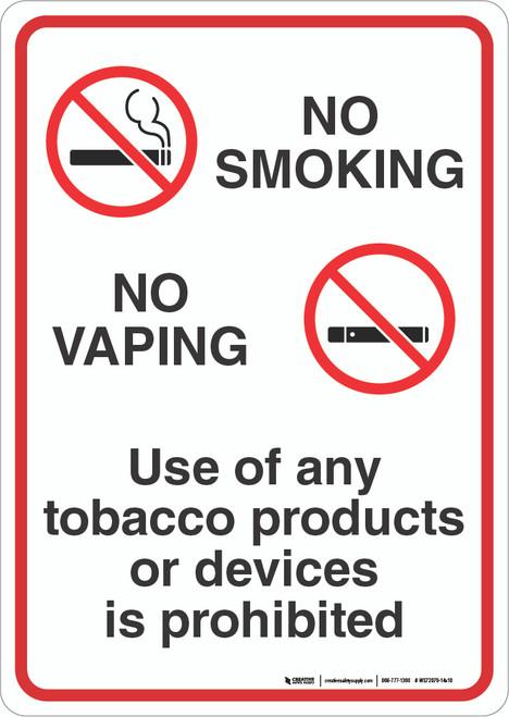 No Smoking / No Vaping - Wall Sign