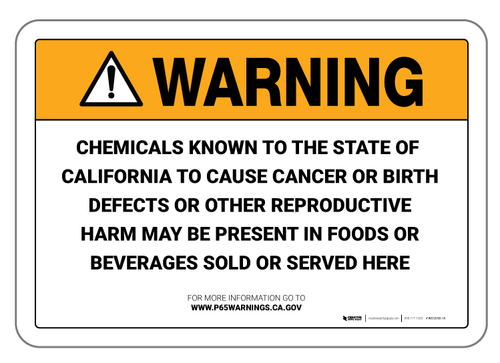 Prop 65 Food and Beverage - Wall Sign