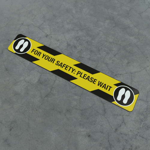 For Your Safety: Please Wait Feet Icon - Social Distancing Strip