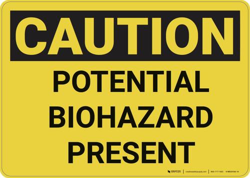 Caution: Potential Biohazard Presenet - Wall Sign