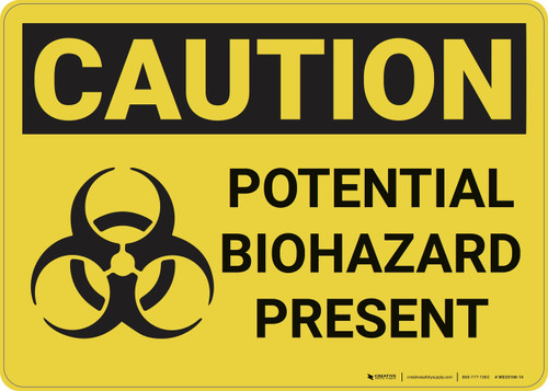 Caution: Potential Biohazard Present With Graphic - Wall Sign