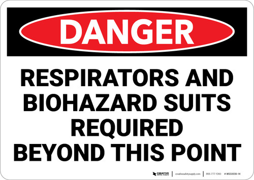 Danger: PPE Respirators And Biohazard Suits Required - Wall Sign