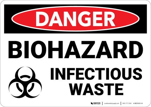 Danger: Biohazard Infectious Waste - Wall Sign