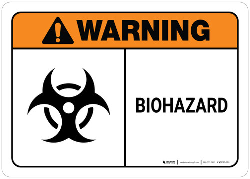 Warning: Biohazard with Icon ANSI Landscape with Icon