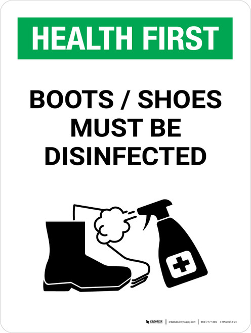Health First: Boots/Shoes Must Be Disinfected with Icon Portrait - Wall Sign
