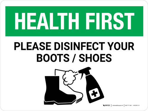 Health First: Please Disinfect Boots/Shoes with Icon Landscape - Wall Sign