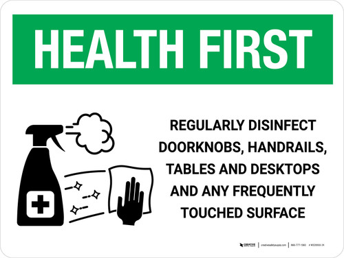 Health First: Regularly Disinfect Surfaces with Icon Landscape - Wall Sign