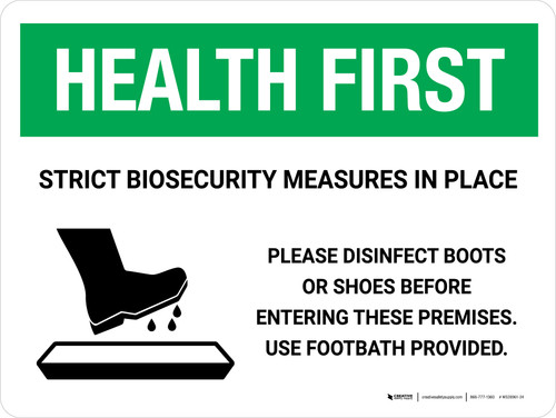 Health First: Strict Biosecurity Measures In Place with Icon Landscape - Wall Sign