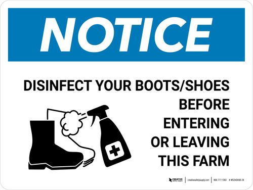 Notice: Disinfect Boots/Shoes Farm with Icon Landscape - Wall Sign