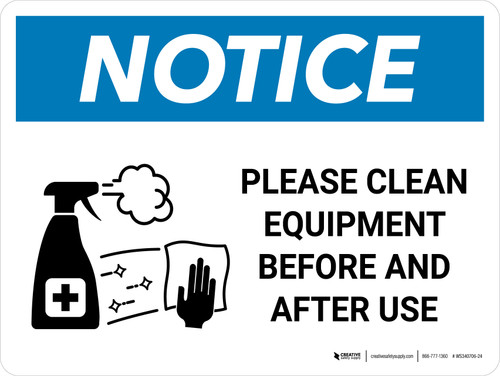 Notice: Please Clean Equipment with Icon Landscape - Wall Sign