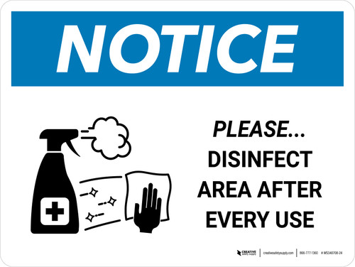 Notice: Please Disinfect Area with Icon Landscape - Wall Sign