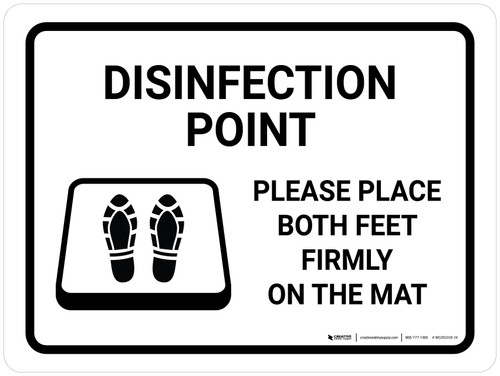 Disinfection Point with Icon Landscape - Wall Sign
