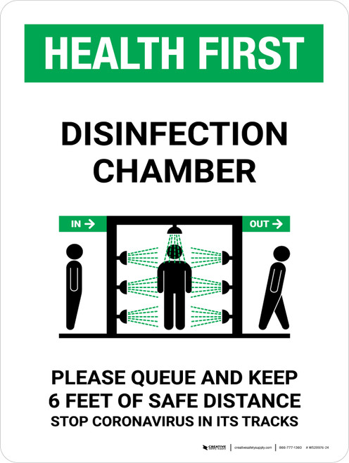 Health First: Disinfection Chamber with Icon Portrait - Wall Sign