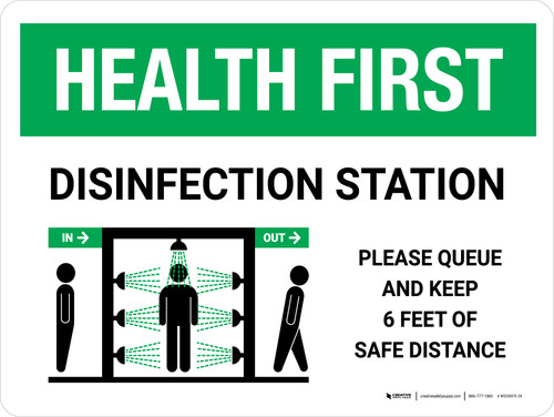 Health First: Disinfection Station with Icon Landscape - Wall Sign