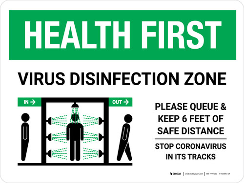 Health First: Virus Disinfection Zone with Icon Landscape - Wall Sign