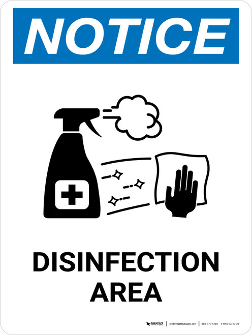 Notice: Disinfection Area with Icon Portrait - Wall Sign
