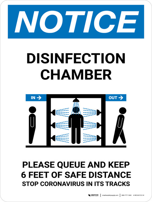 Notice: Disinfection Chamber with Icon Portrait - Wall Sign