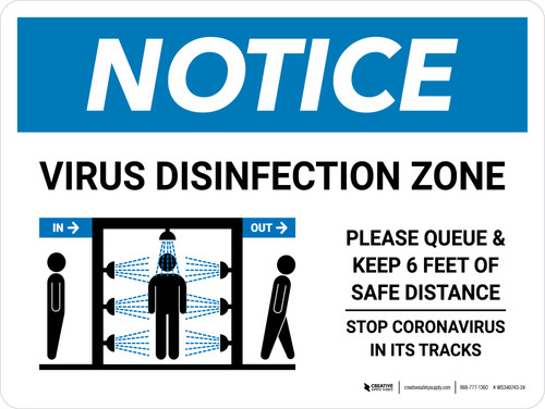 Notice: Virus Disinfection Zone with Icon Landscape - Wall Sign