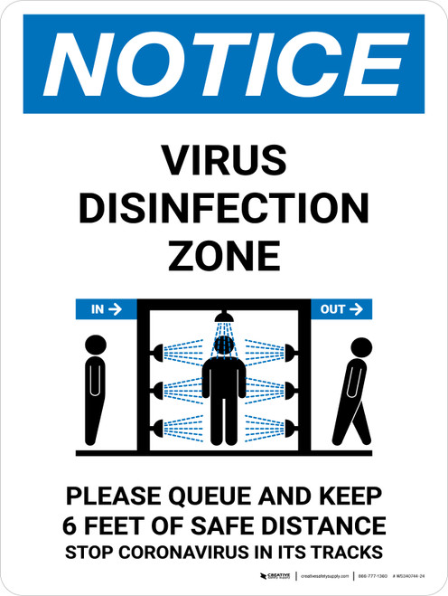 Notice: Virus Disinfection Zone with Icon Portrait - Wall Sign