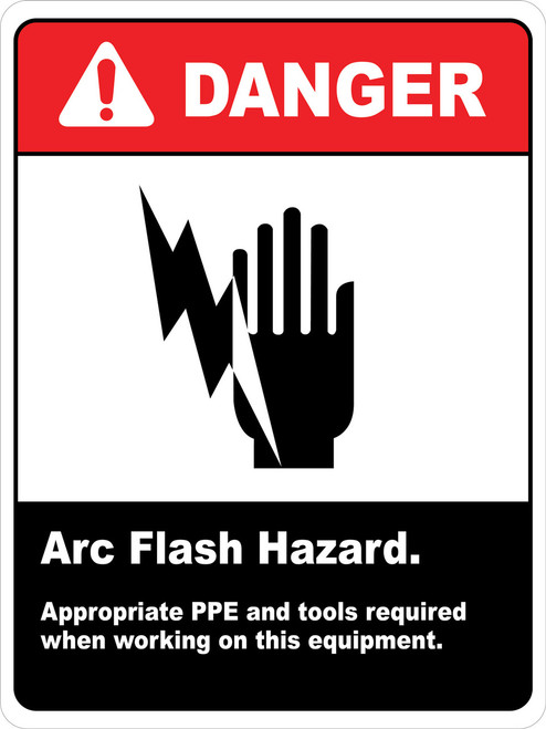 Danger Arc Flash Hazard PPE Required Wall Sign