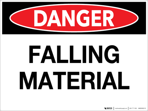 Danger: Falling Material - Wall Sign