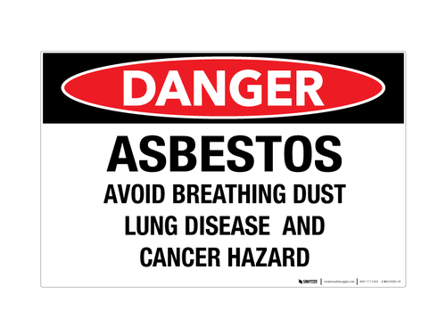 Danger - Asbestos/Avoid Breathing Dust - Wall Sign