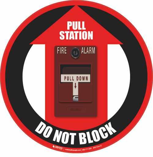 Fire Alarm Pull Station Do Not Block Floor Sign