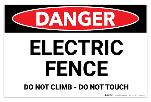 Danger - Electric Fence - Wall Sign