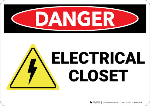 Danger: Electrical Closet - Wall Sign