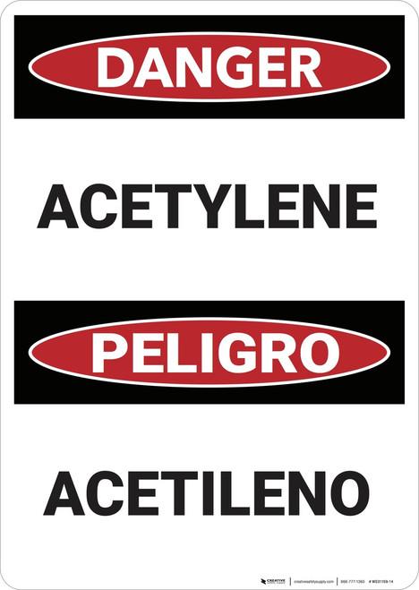 Danger: Acetylene Bilingual - Wall Sign