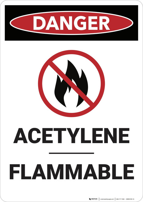 Danger: Acetylene Flammable - Wall Sign