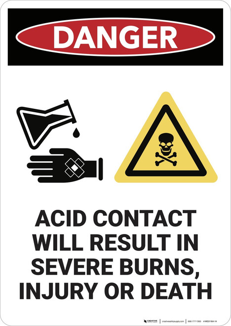 Danger: Acid Contact Will Result In Severe Burns - Wall Sign