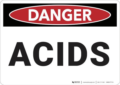 Danger: Acids - Wall Sign