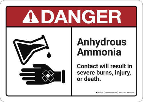 Danger: Anhydrous Ammonia  - Wall Sign