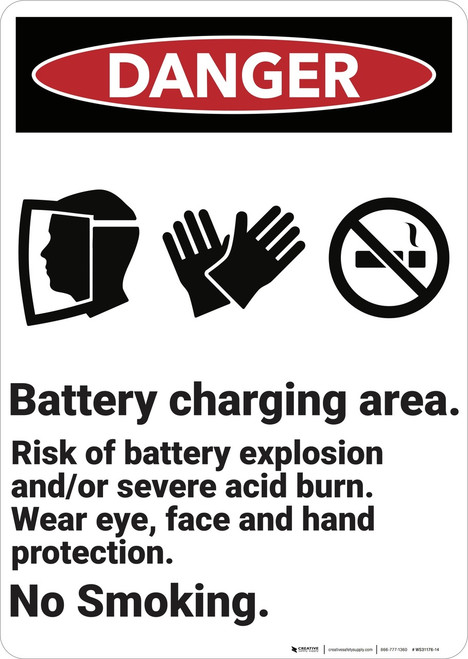 Danger: Battery Charging Area  - Wall Sign