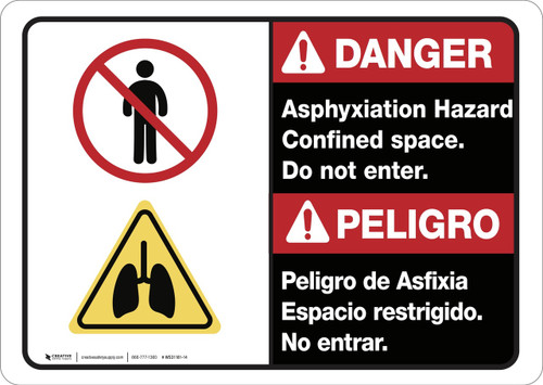 Danger: Bilingual Asphyxiation Hazard Confined Space - Wall Sign