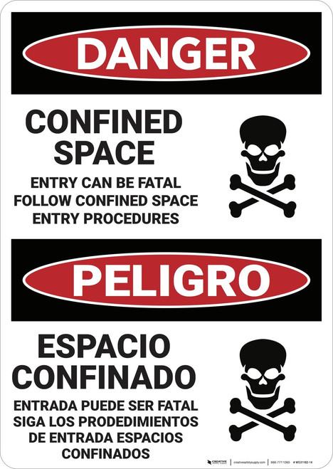 Danger: Bilingual Confined Space Entry Can Be Lethal - Wall Sign
