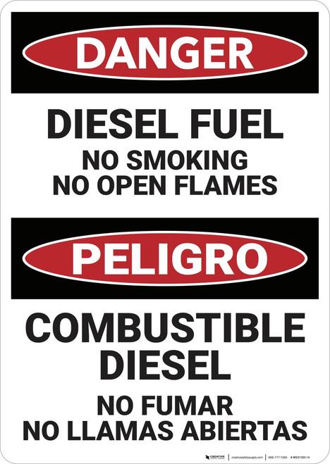 Danger: Bilingual Diesel Fuel No Smoking - Wall Sign