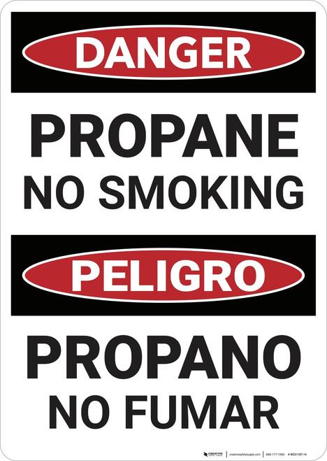 Danger: Bilingual Propane No Smoking - Wall Sign